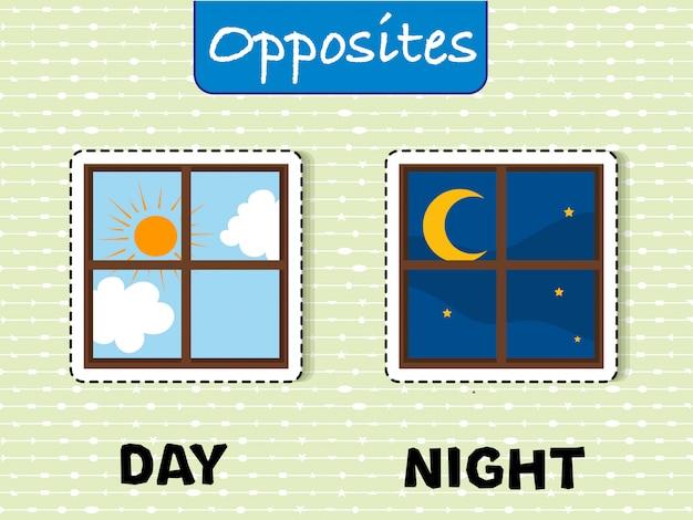 Przeciwstawne słowa na dzień i na noc