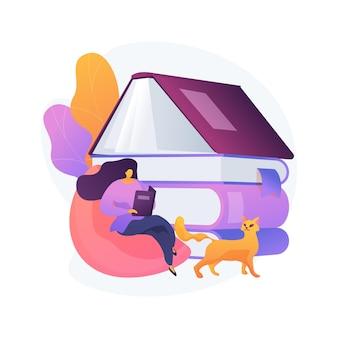Przeczytaj ilustrację koncepcji abstrakcyjnej książki. spędzaj czas, czytając zwyczaje, fikcyjny świat, domową bibliotekę, czytaj z dziećmi, pobieraj bezpłatnie e-booki online