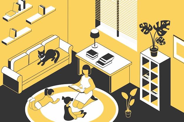 Przeczytaj rodzinną kompozycję izometryczną z domową scenerią i książką do czytania matki dla dwojga małych dzieci