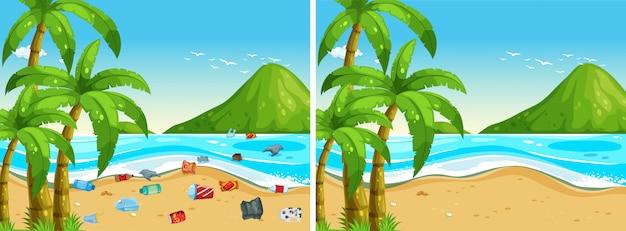 Przed i po czyszczeniu plaży