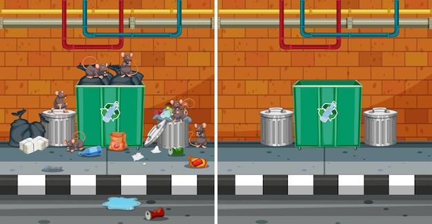 Przed i po czyszczeniu ulicy