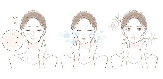 Przed i po kobietach cierpiących na ciemnienie porów. na białym tle.