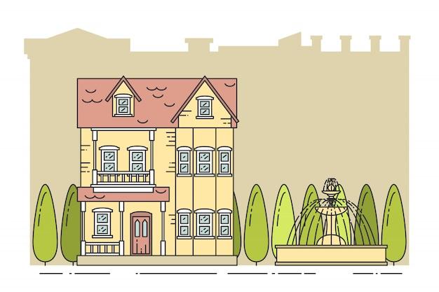 Przedmieścia krajobraz z prywatnym oddzielnym domem, drzewami, fontanną na miasta tle.