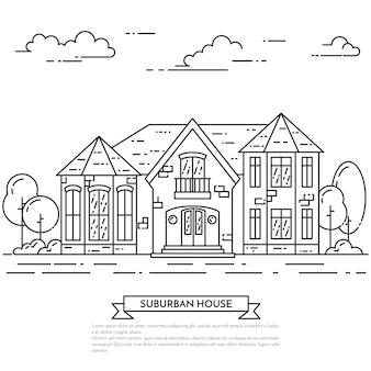 Przedmieście krajobraz z prywatnym oddzielnym domem, jard na białym tle.