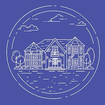 Przedmieście krajobraz z prywatnym oddzielnym domem, jard na błękitnym tle.