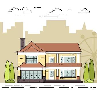 Przedmieście krajobraz z prywatnym oddzielnym domem, jard na miasta tle.