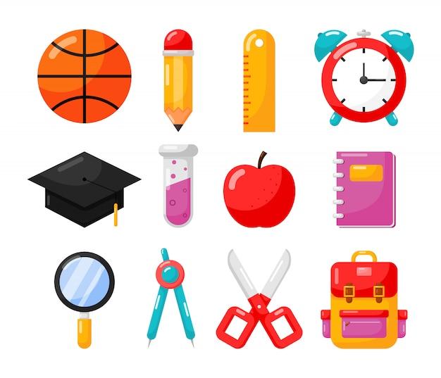 Przedmioty edukacyjne. szkoła ikona na białym tle.