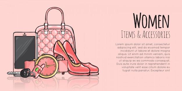 Przedmioty i akcesoria dla kobiet modny szablon baneru internetowego