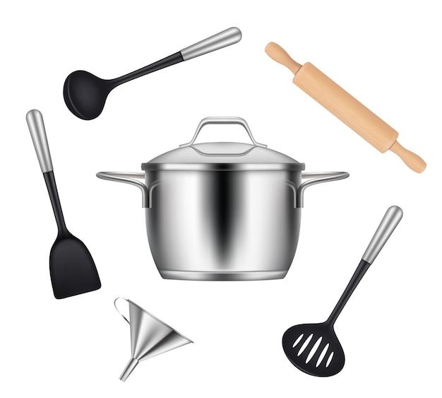 Przedmioty kuchenne. realistyczne przedmioty do gotowania potraw patelnie patelnie noże widelce chochle naczynia. realistyczne naczynie kuchenne ze stali nierdzewnej do gotowania ilustracji