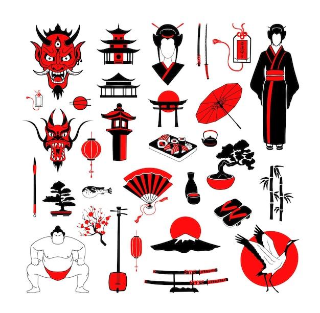 Przedmioty kultury japońskiej. kolorowe ilustracje w nowoczesnym stylu