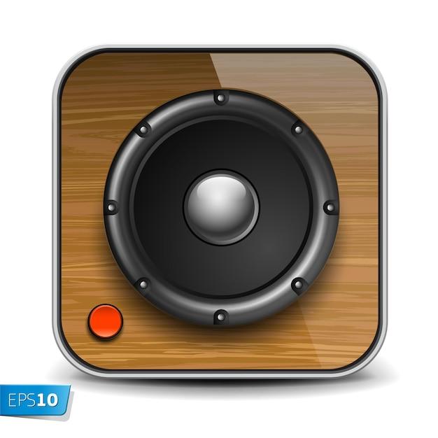 Przedni głośnik audio z falistą membraną odizolowaną na białej ikonie wektora