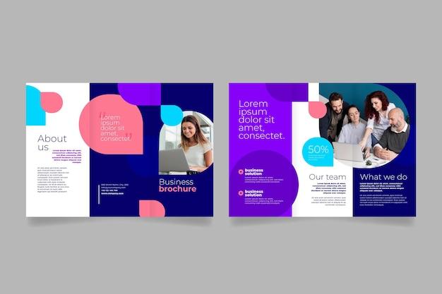 Przednia i tylna broszura potrójnego zespołu biznesowego