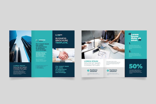 Przednia i tylna minimalna potrójna broszura