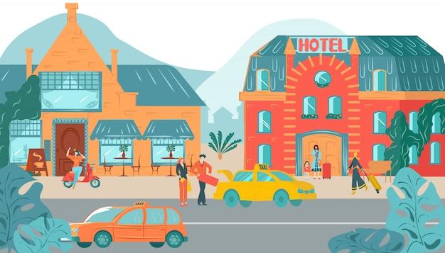 Przednie domy zewnętrzne, hotelowa architektura miejska domu ilustracji budynków elewacji kamienic.