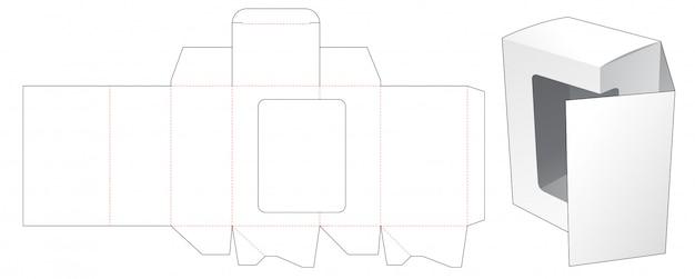 Przednie pudełko z klapką i szablonem wycinanym w oknie