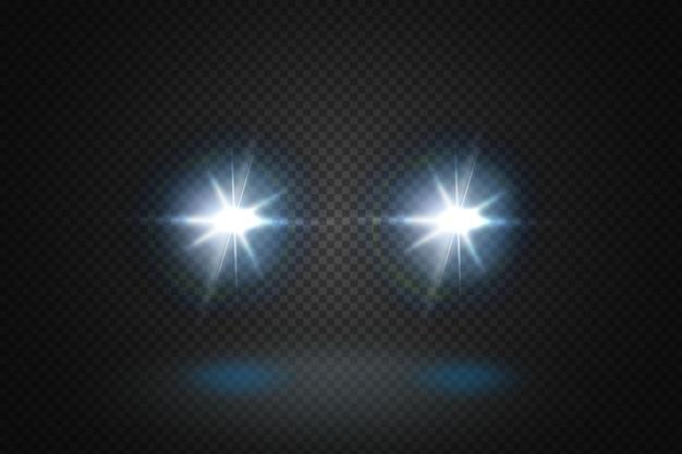 Przednie świecące belki samochodu. realistyczne niebieskie promienie okrągłe reflektory transportowe w dymie, mgle lub kurzu.i. na białym tle na czarnym tle.