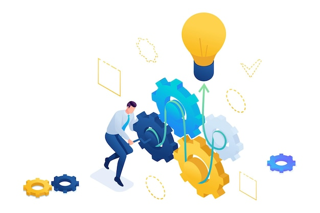 Przedsiębiorca opracowuje pomysł na biznes, wprawiając w ruch. tworzenie pomysłu na biznes. izometryczny 3d. koncepcja projektowania stron internetowych.