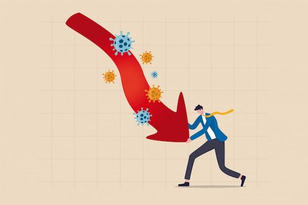 Przedsiębiorca, właściciel małej firmy walczy o przetrwanie w koncepcji kryzysu w covid-19, spokojny biznesmen walczy o właściciela, przesuwając czerwoną strzałkę w dół wykresu z patogenem coronavirus covid-19.