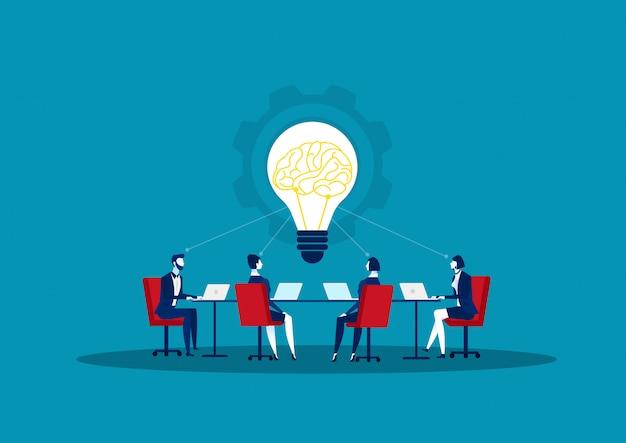 Przedsiębiorca wymieniający rozwiązanie i dzielący się pomysłami.