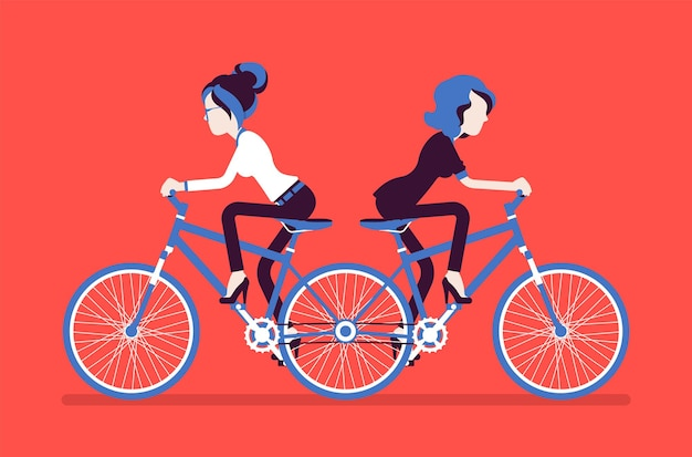 Przedsiębiorcy na push me pull you tandem bike. niezgodne kobiety ambitne menedżerki, niezdolne do współpracy, poruszające się na różne sposoby, bezproduktywne. ilustracja wektorowa, postacie bez twarzy