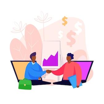 Przedsiębiorcy wystające z ekranów komputerowych