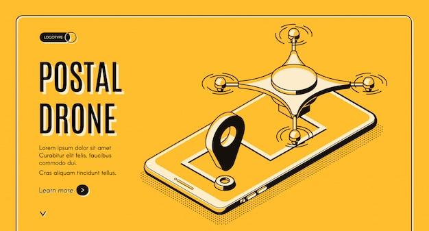 Przedsiębiorstwo pocztowe zautomatyzowane usługi dostawcze izometryczny wektor banner www