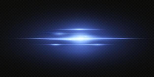 Przedstawiamy efekty działania zestawów neonów. świecąca niebieska linia abstrakcyjna. nadaje się do efektu flary przezroczystych soczewek. jasne światło