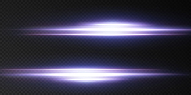 Przedstawiamy efekty działania zestawów neonów. świecąca niebieska linia abstrakcyjna. nadaje się do efektu flary przezroczystych soczewek.