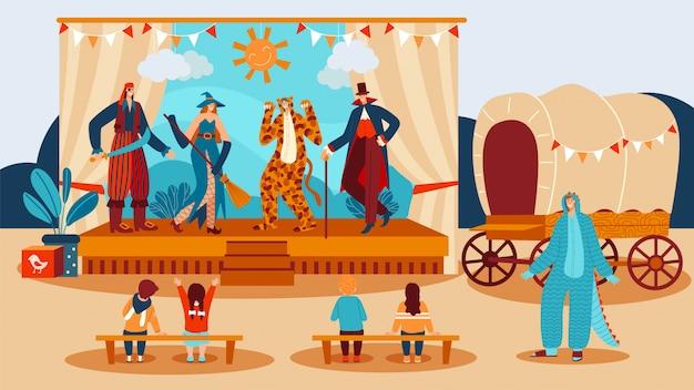 Przedstawienie teatralne dla dzieci, aktorzy ubrani w kostiumy grające w bajki na scenie przed ilustracją dla dzieci.