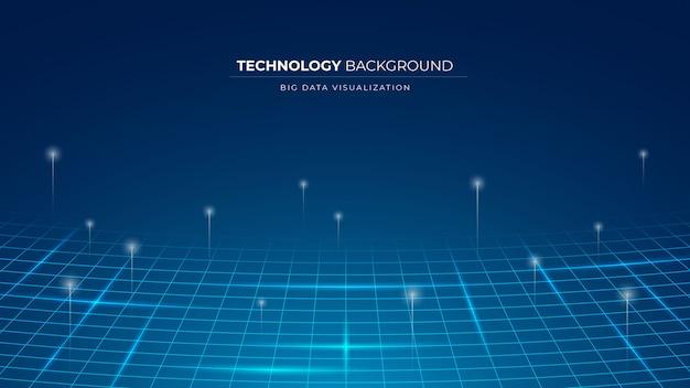 Przedstawienie wizualizacji danych technologia przepływu informacji tło z siatką linii i okręgów