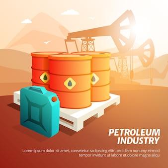 Przedstawiono izometryczny plakat składu przemysłu naftowego z kanistrami do przechowywania oleju