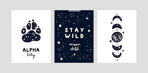 Przedszkola drukuje z magicznymi księżycami i gwiazdami dla dziewczynki lub chłopca. dziecinne karty lub plakat