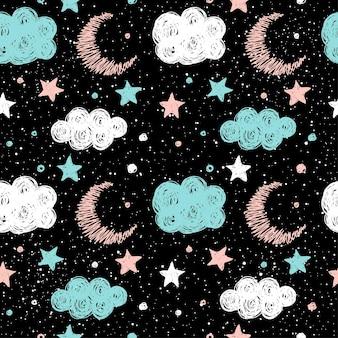Przedszkole dla dzieci doodle księżyc graficzny bezszwowe tło wzór