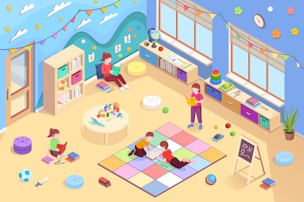 Przedszkole izometryczne wektor wnętrza i dzieci projektują dzieci w wieku przedszkolnym czytające książki dziewczęta