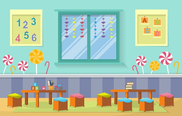Przedszkole klasie wnętrze dzieci dzieci zabawki szkolne meble