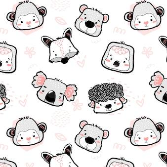 Przedszkole słodkie dzikie zwierzęce głowy szkic rysunkowy wzór