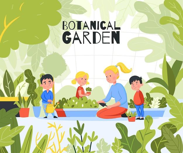 Przedszkolna kompozycja ogrodowa na świeżym powietrzu z ilustracją zielonych liści roślin i grupy dzieci z nauczycielem