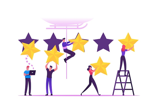 Przegląd i koncepcja oceny klientów. płaskie ilustracja kreskówka