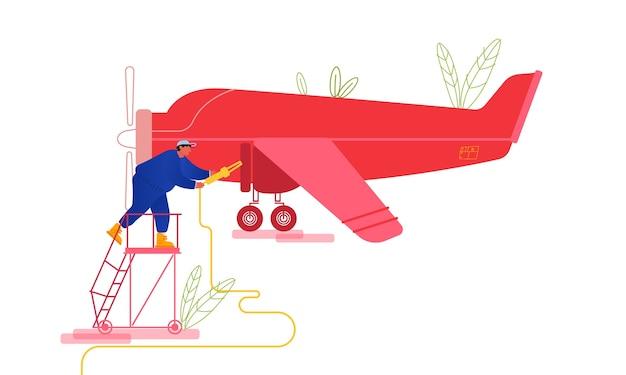 Przegląd prywatnego samolotu i tankowanie przed lotem.