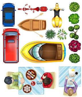 Przegląd samochodów, roślin i ludzi przy stole