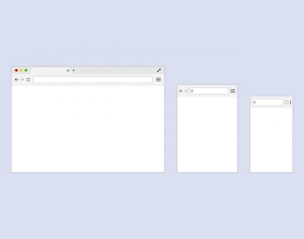 Przeglądarka lub przeglądarka internetowa w stylu płaskiej