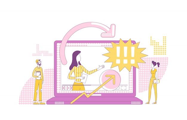 Przeglądu produktu wideo pojęcia cienka linia ilustracja. marketingowcy i postaci z kreskówek vlogger 2d do projektowania stron internetowych. wpływ na marketing, kreatywny pomysł na reklamę partnerską online
