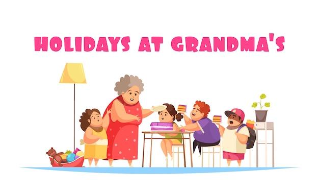 Przejadanie się problemów pojęcie z wakacjami przy babcia symbolami płaskimi