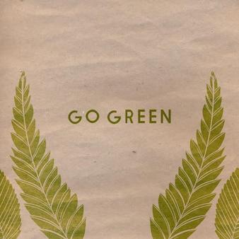 Przejdź do zielonego tekstu na papierze rzemieślniczym. plakat koncepcja eko wektor.