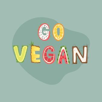 Przejdź weganizm - projekt plakatu z napisem. ilustracja.