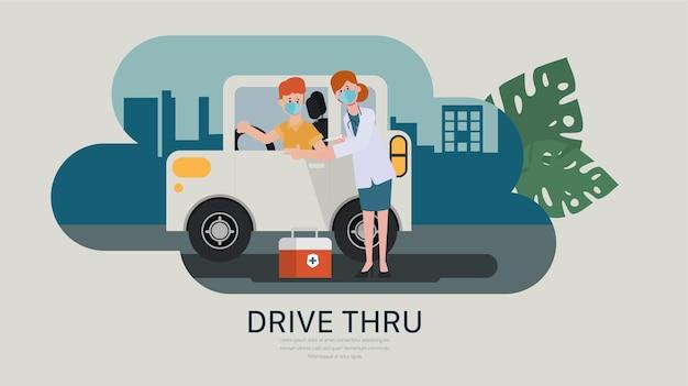 Przejedź, aby przyjąć szczepionkę w koncepcji samochodu leczenie covid19 nowy normalny styl życia