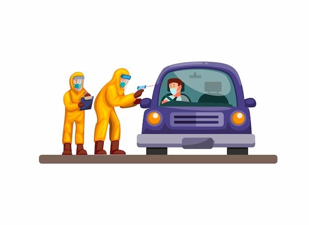 Przejedź się przez szybki test, lekarz i naukowiec noszą kombinezon ochronny, sprawdzają samochód kierowcy przed infekcją koronawirusem. koncepcja w ilustracja kreskówka na białym tle