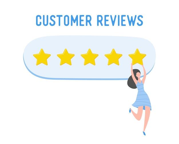 Przejrzyj ilustrację koncepcji. postać kobiety pisząca dobre opinie ze złotymi gwiazdami. ocena usług i wrażenia użytkownika związane z korzystaniem z laptopa. pięć gwiazdek pozytywna opinia. kreskówka