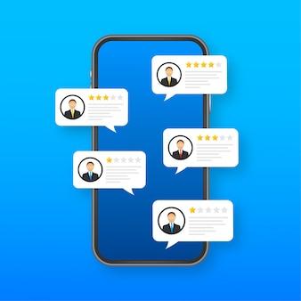 Przejrzyj oceny przemówień bąbelkowych na ilustracji telefonu komórkowego, recenzje smartfonów w stylu płaskich gwiazdek z dobrą i złą oceną oraz tekstem. ilustracji.