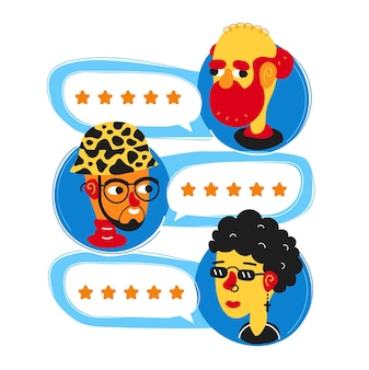 Przejrzyj przemówienia z ocenami i awatary ludzi prosty płaski charakter kreskówka ilustracja avatar ikona designu. koncepcja decyzji, ludzie dobry system oceniania, recenzje gwiazdek oceń koncepcja aplikacji